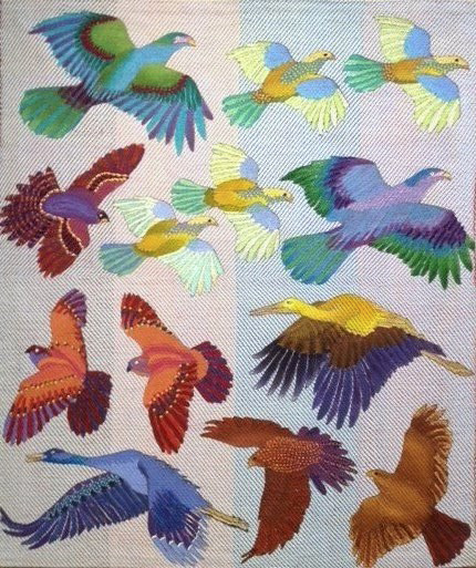 A wide variety of flying birds, painted with various surface design techniques